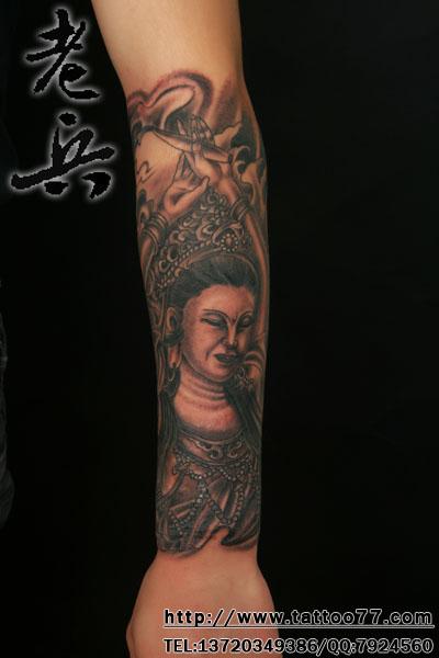 观音踏龙纹身图案大全 观音骑龙纹身图案大全 关公踏龙纹身图案大全图片