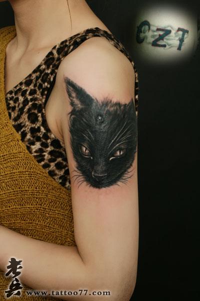 遮盖失败纹身 美女大臂猫纹身