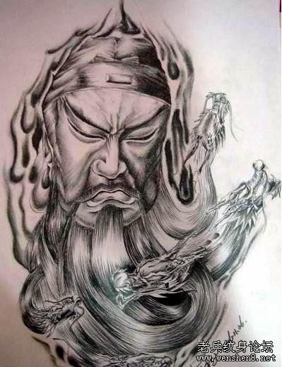 满背关公纹身图案大全-满背关公纹身图案纹身图片 武汉最好的纹身店图片