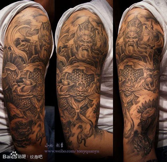 手臂帅气超酷的武财神纹身图案