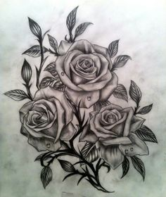 分享一款玫瑰花纹身手稿